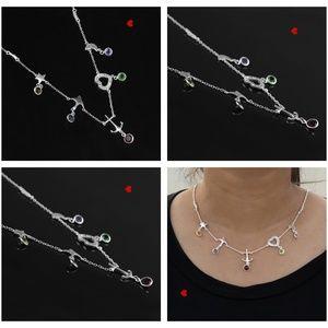 Multi Charm Gemstone Necklace 925 Silver Classic